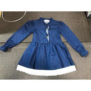 海外子供服⭐︎デニムワンピースレース付110120(ワンピース)