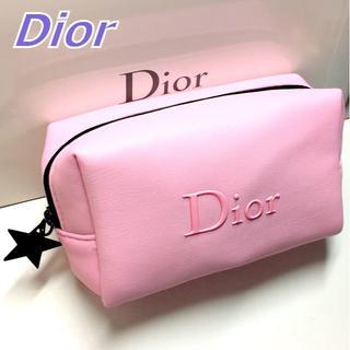 Dior - Dior ブラックスター × ライトピンク ソフトレザー風 コスメポーチ ポーチ
