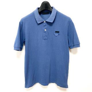 PRADA - プラダ プラダ 三角胸ロゴ 半袖 コットン ポロシャツ ネイビーブルー