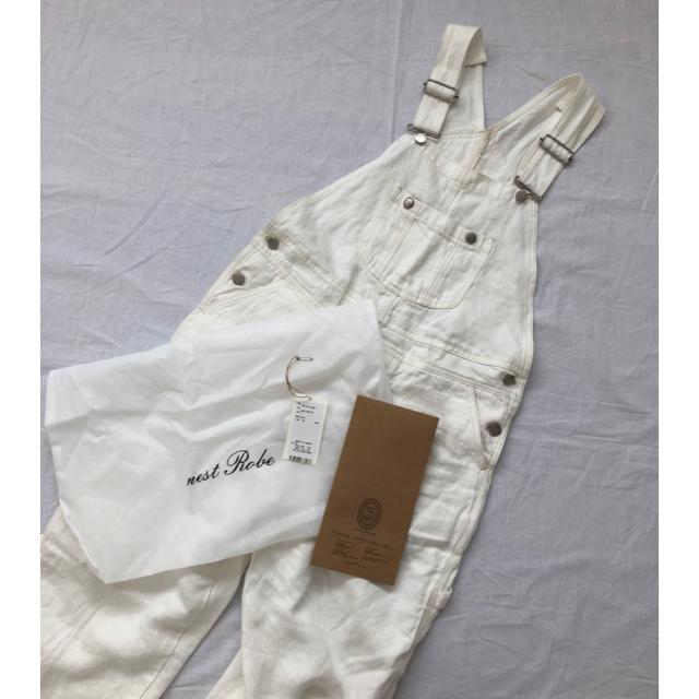 nest Robe(ネストローブ)のnest Robe リネンデニムオーバーオール シロ 新品 レディースのパンツ(サロペット/オーバーオール)の商品写真