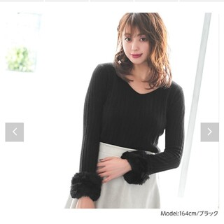 コウベレタス(神戸レタス)の袖ファー 取り外し可能 リブニット(ニット/セーター)