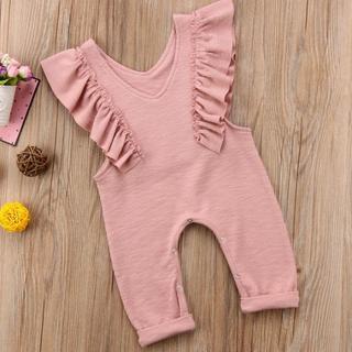 ベビーロンパース ピンク 80サイズ サロペットこども服 カバーオール
