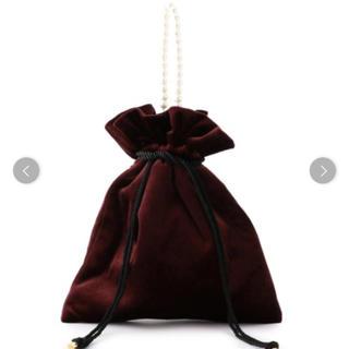 シップス(SHIPS)のベロア巾着パール付きバッグ♡ (ハンドバッグ)