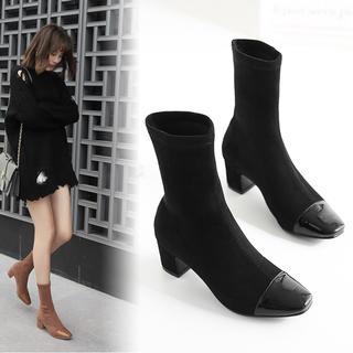 ♥ ブーツ ショートブーツ ソックスブーツ 太ヒール 靴 韓国 美脚 シンプル(ブーツ)