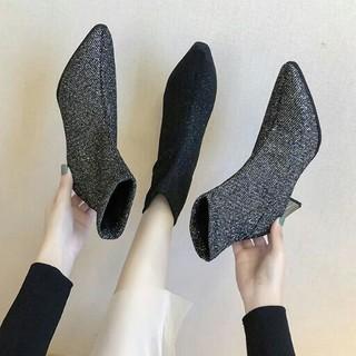 全二色 美脚   新作 きらきらラメ ハイヒール ブーツ  靴(ブーツ)