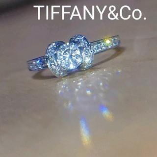 Tiffany & Co. - ティファニー リボン リング pt950 ダイヤ ダイヤモンド プラチナ