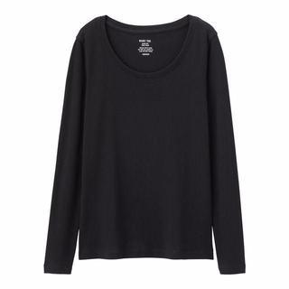 新品タグ付き Lブラック 長袖クルーネックTシャツ 綿100% 匿名配送