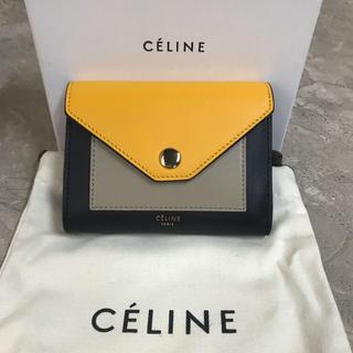 celine - ★セリーヌ★美品 女性用 ラムレザー ミニ財布 イエロー×カーキ×ブラック