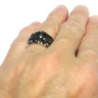 【韓国】ステンレス 316L 16号 シルバー アクセサリー ブラック(リング(指輪))
