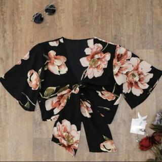 エモダ(EMODA)の新品 花柄 シフォン リボン トップス(カットソー(半袖/袖なし))