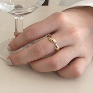TODAYFUL - Silver925 k18_ wavy plump ring