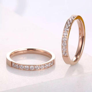 10粒CZダイヤステンレスリング キラキラ ピンクゴールド(リング(指輪))