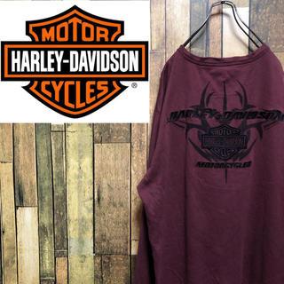 Harley Davidson - 【激レア】ハーレーダビッドソン☆バック刺繍ビッグロゴサーマルヘンリーネックロンT