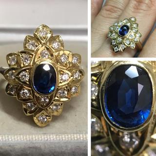 K18 とても綺麗なサファイア ダイヤモンド リング