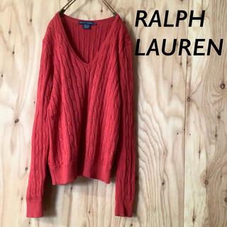 Ralph Lauren - RALPH LAUREN 縄編み コットン ニット 胸刺繍 レッド
