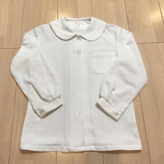 キッズ 女の子用 シンプル 丸襟 ブラウス 白 130cm