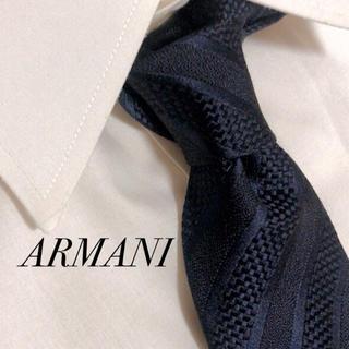 ARMANI COLLEZIONI - 美品 ARMANI アルマーニ ネクタイ ストライプ柄 ネイビー 高級 シルク