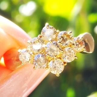 美品 ダイヤモンド 1カラット K18 金 ゴールド リング 指輪(リング(指輪))