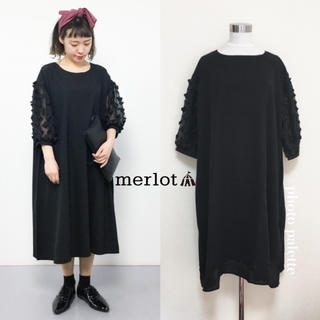 メルロー(merlot)のシースルー袖 フラワーモチーフ ドレス ワンピース(ミディアムドレス)