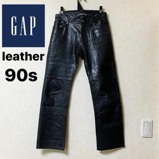 GAP - レザーパンツ GAP ヴィンテージ  90s ブラック W28 レア