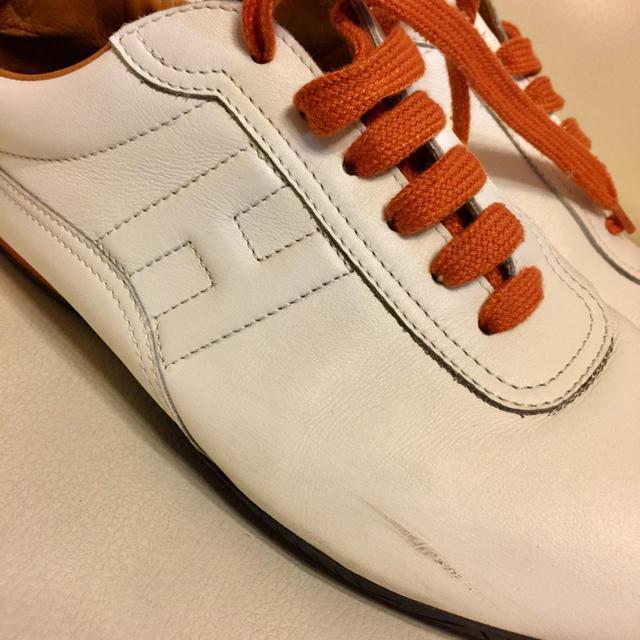 Hermes(エルメス)のHERMES エルメス レザースニーカー レディース 白 ホワイト 38 レディースの靴/シューズ(スニーカー)の商品写真