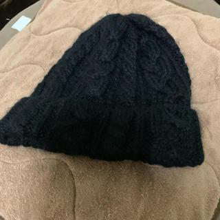 ユナイテッドアローズ(UNITED ARROWS)のハイランド2000 ケーブル編みニット 黒 アルパカ(ニット帽/ビーニー)