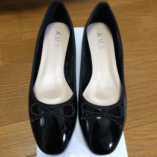 黒 エナメル バレエ パンプス フラット シューズ Lサイズ 24cm(バレエシューズ)