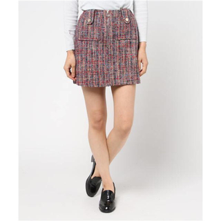 レディアゼル(REDYAZEL)の超美品 レディアゼル ポケットデザインツイードミニスカート台形(ミニスカート)