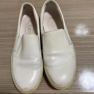 トッズ(TOD'S)のスリッポン ローファー  tod's レザー ホワイト(ローファー/革靴)
