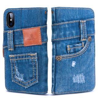 本格デニム iPhone X/iPhone Xs 手帳型 iPhoneケース