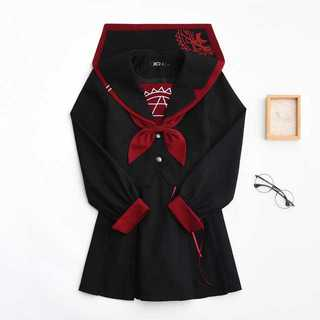 【送料無料】セーラー服スカート2点セット レディース秋刺繍Mz181(ロングスカート)