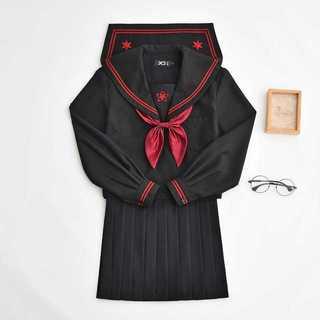 【送料無料】セーラー服スカート2点セット レディース秋刺繍Mz174(Tシャツ(長袖/七分))