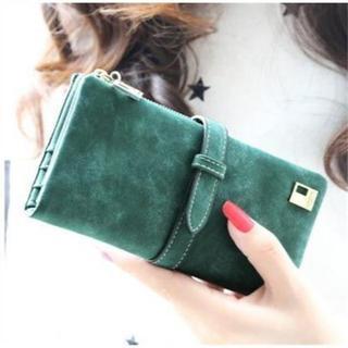 【長財布】スウェード調 ファスナー開閉 カード 小銭 収納可 (グリーン)(財布)
