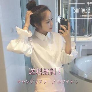 カジュアル&シンプル!可愛さ満点 キャンディスリーブ ワイシャツ風♡(シャツ/ブラウス(長袖/七分))