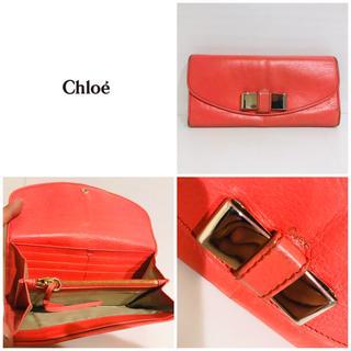 Chloe - 89650円⭐️大丸購入⭐️クロエ CHLOE 本革 長財布 リボン ピンク