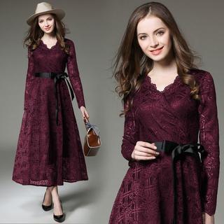 新品 インポート セミフォーマル ロング ドレス ワンピース 赤(ロングドレス)