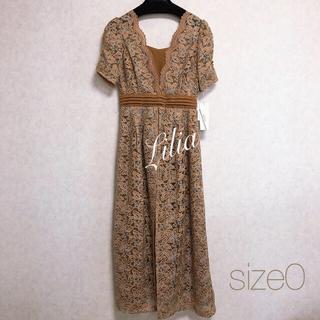 Lily Brown - 1点限定価格 リリーブラウン レイヤード刺繍チュールワンピース  キャメル