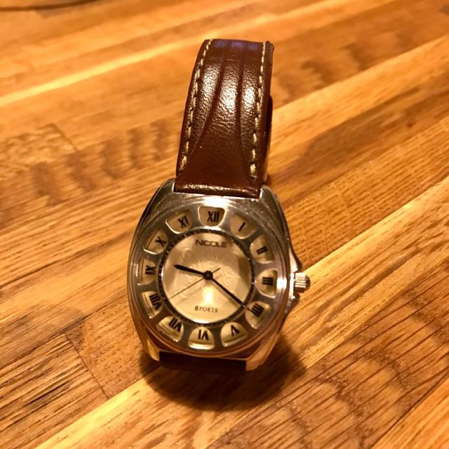 NICOLE - NICOLE  腕時計 レザーベルト 稼働品 電池交換済の通販