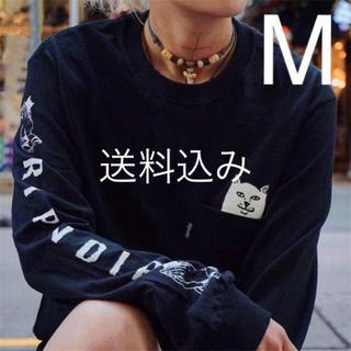 シュプリーム(Supreme)の【M】RIPNDIP Lord Nermal Pocket L/S ロンT 黒(Tシャツ/カットソー(七分/長袖))