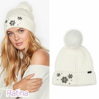 ヴィクトリアズシークレット(Victoria's Secret)のヴィクトリアシークレット ポンポン ニット帽(ニット帽/ビーニー)