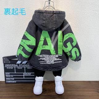 KCBA026秋冬子供服裏起毛厚手 デニムジャケット コート(2色90-140)
