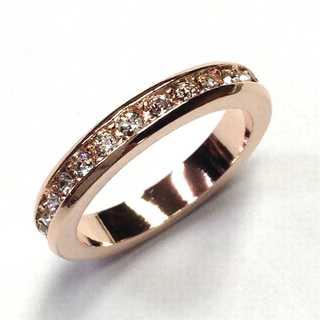 フルエタニティリング ピンクゴールド 指輪 スワロフスキー社製クリスタル使用(リング(指輪))
