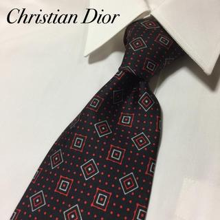 クリスチャンディオール(Christian Dior)のChristian Dior 高級シルク 赤/黒 ドット 総柄 ネクタイ(ネクタイ)