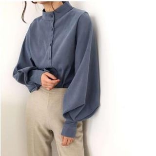 【トレンドのバルーン袖&スタンドカラー】フェミニンなとろみ素材ブラウス 青XL(シャツ/ブラウス(長袖/七分))