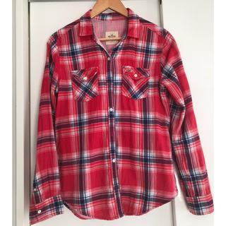 ホリスター(Hollister)の【ホリスター】チェックシャツ Sサイズ 大きめ 赤 レッド レディース (シャツ/ブラウス(長袖/七分))