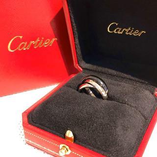 カルティエ(Cartier)の【美品】カルティエ トリニティリング WG×Pd950×セラミック サイズ46(リング(指輪))