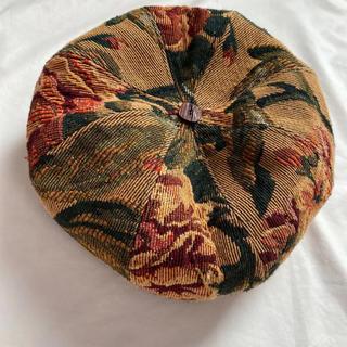 ゴブラン織り 花柄 ベレー帽