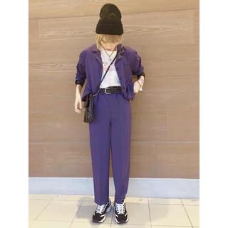 ウィゴー(WEGO)のWEGO オープンカラー シャツ 紫 パープル(シャツ/ブラウス(長袖/七分))