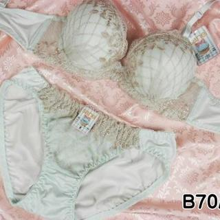 064★B75 M★美胸ブラ ショーツ 谷間メイク ダイアチェック刺繍 緑(ブラ&ショーツセット)