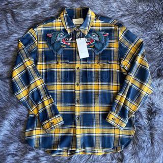 グッチ(Gucci)のGUCCI  アップリケチェックシャツ オーバーサイズ 半額以下(シャツ)